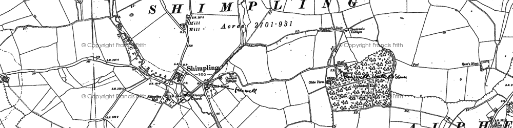 Old map of Lawshall Green in 1884