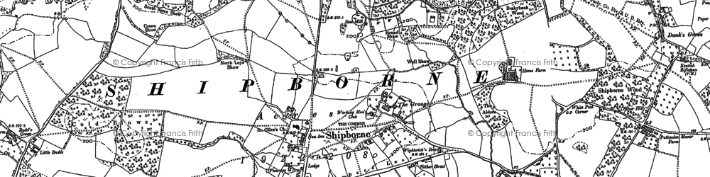 Old map of Shipbourne in 1868