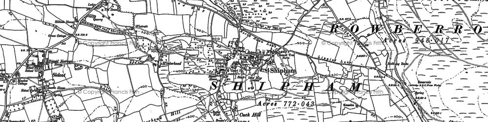 Old map of Winterhead Hill in 1883