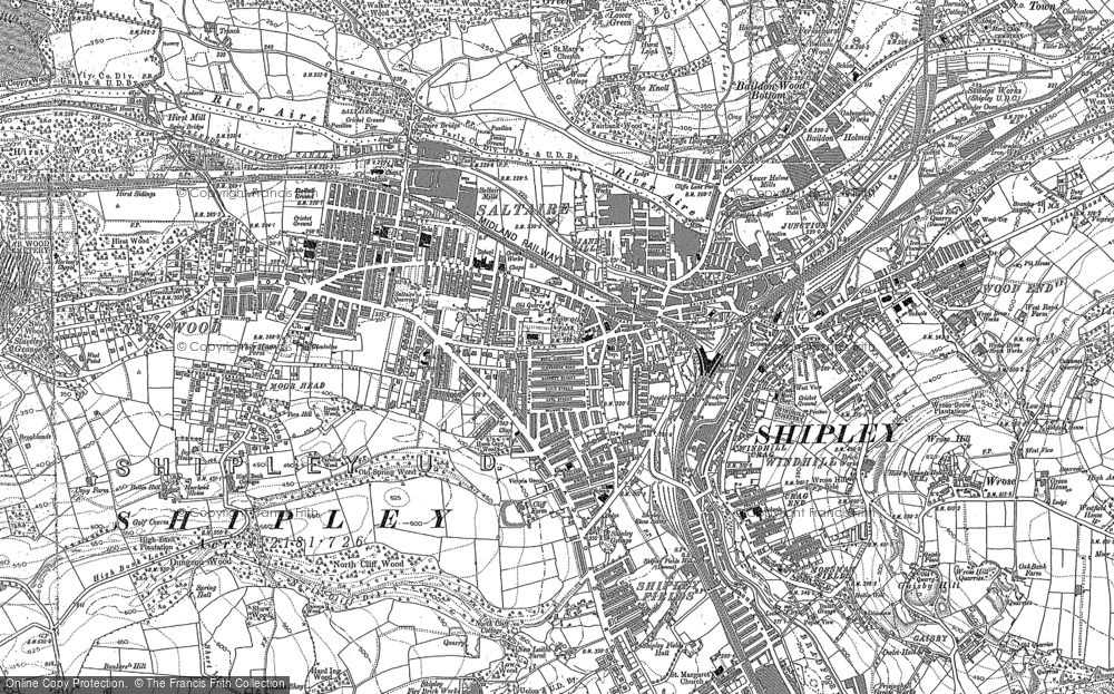Old Map of Historic Map covering Baildon Green in 1891