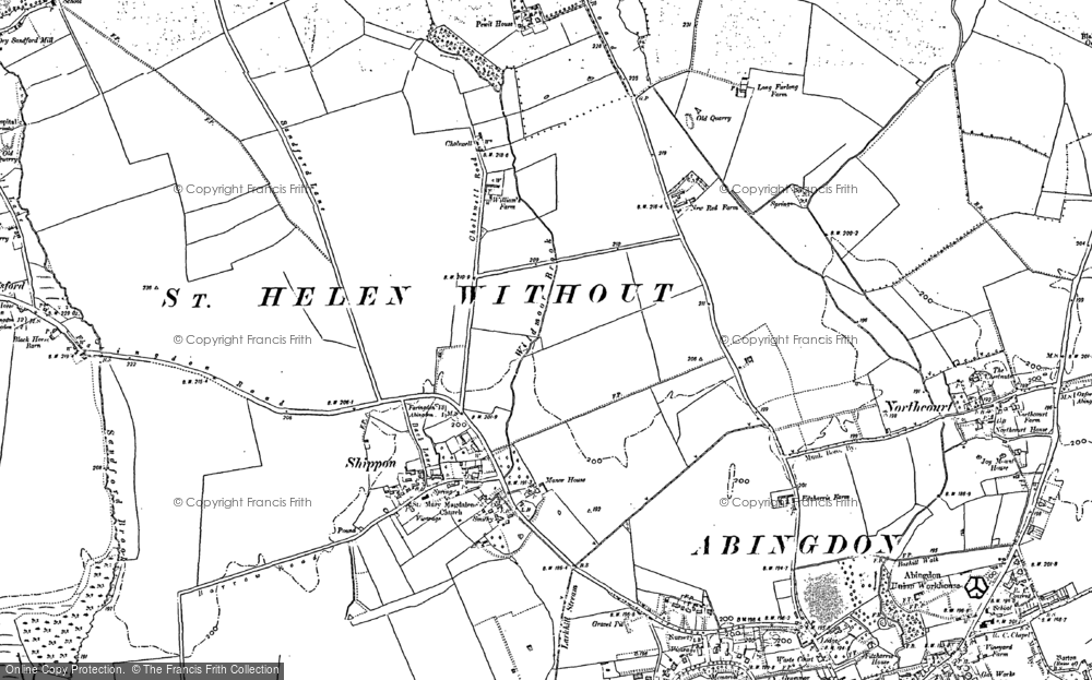 Old Map of Historic Map covering Abingdon Common in 1911