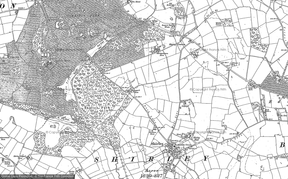 Old Map of Historic Map covering Yeldersley Hollies in 1880