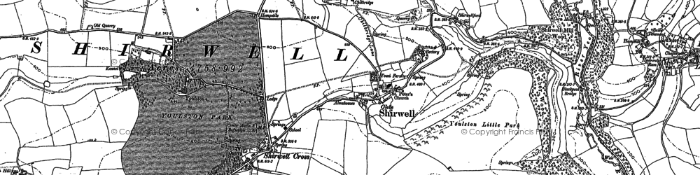 Old map of Youlston in 1886