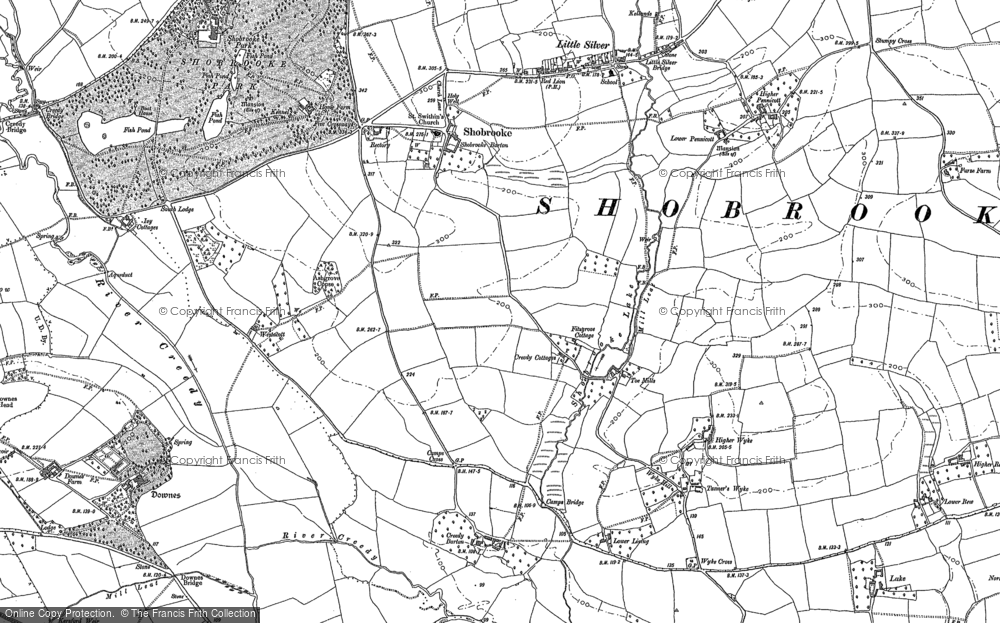 Old Map of Historic Map covering Yendacott Manor in 1887
