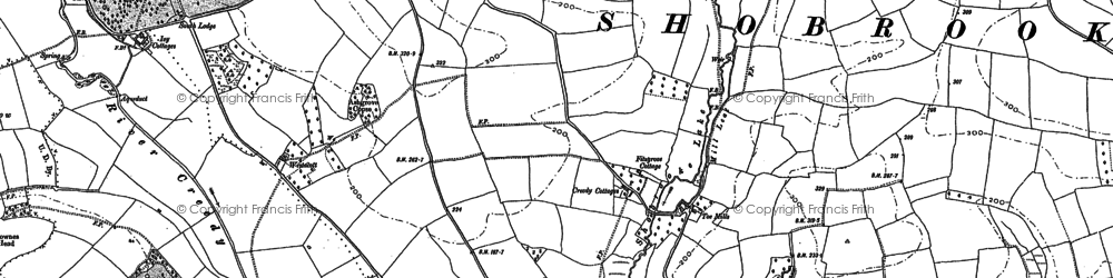 Old map of Yendacott Manor in 1887