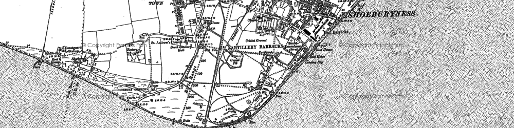 Old map of Shoeburyness in 1896