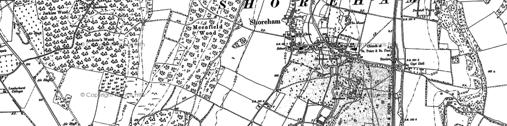 Old map of Timberden Bottom in 1895
