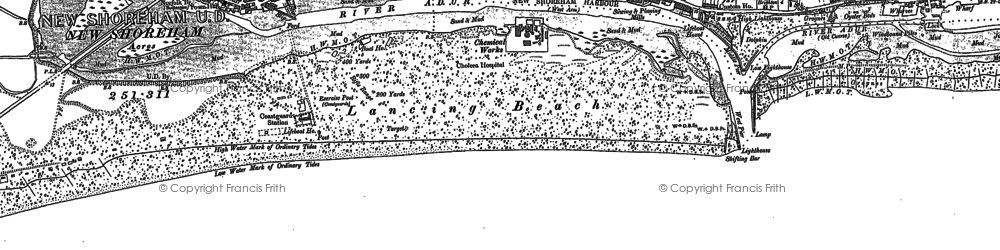 Old map of Shoreham-By-Sea in 1896