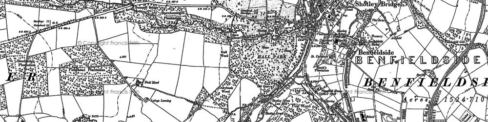 Old map of Shotley Bridge in 1895