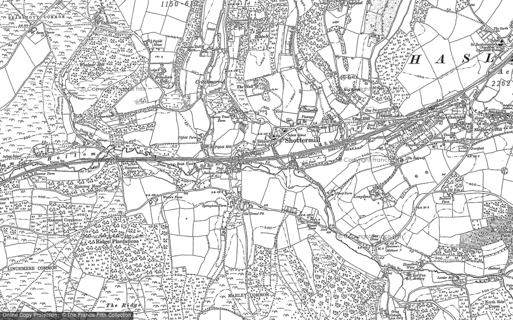 Old Map of Shottermill, 1913 in 1913