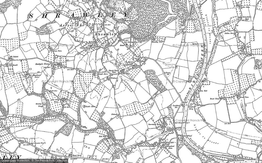 Old Map of Shrawley, 1883 in 1883