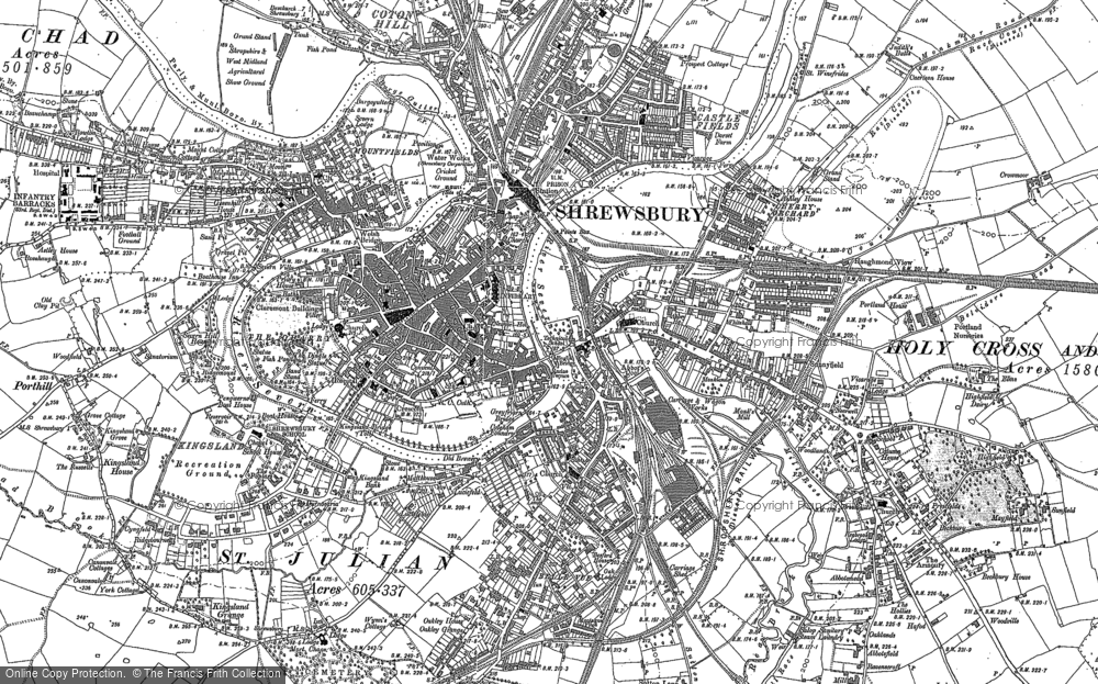 Map of Shrewsbury, 1881