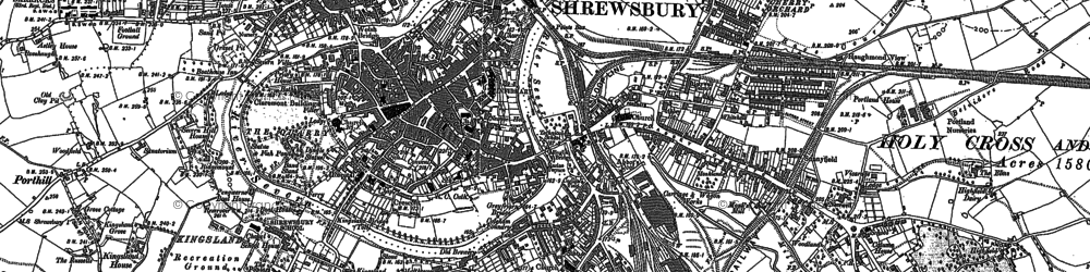 Old map of Shrewsbury in 1881