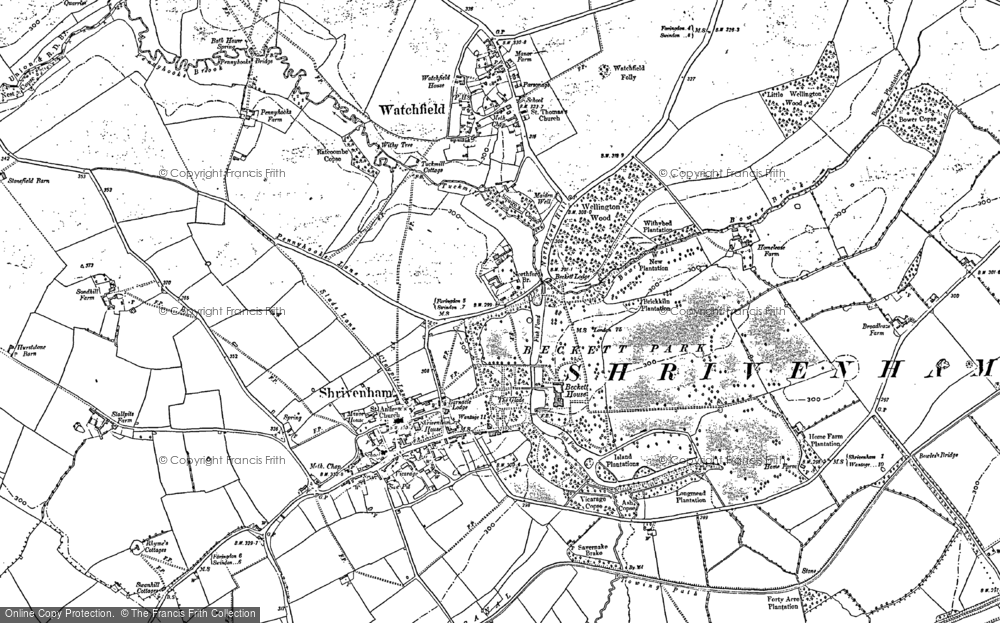 Old Map of Shrivenham, 1910 in 1910