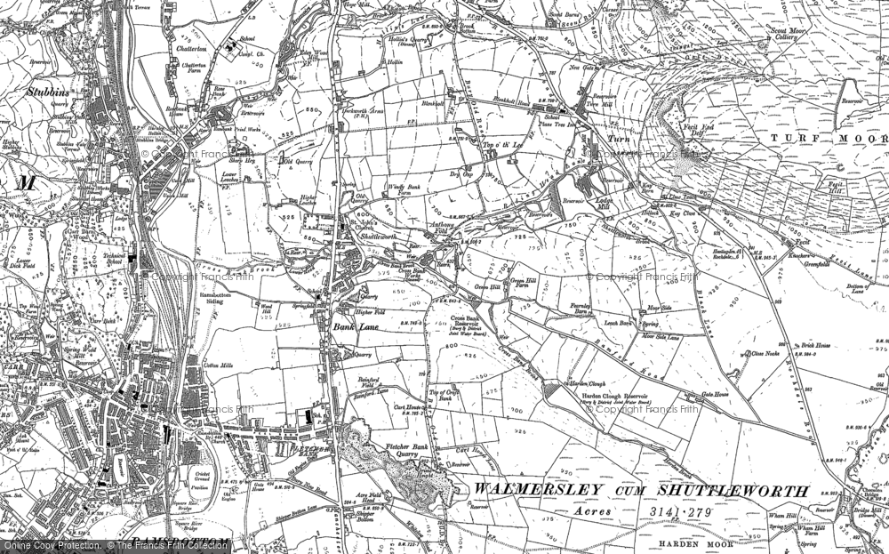 Old Map of Historic Map covering Bank Lane in 1891