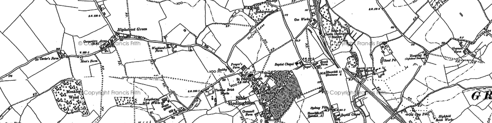 Old map of Almshouse Green in 1896