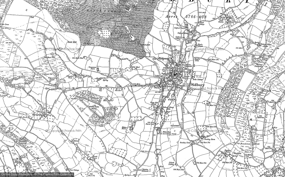 Old Map of Sidbury, 1888 in 1888