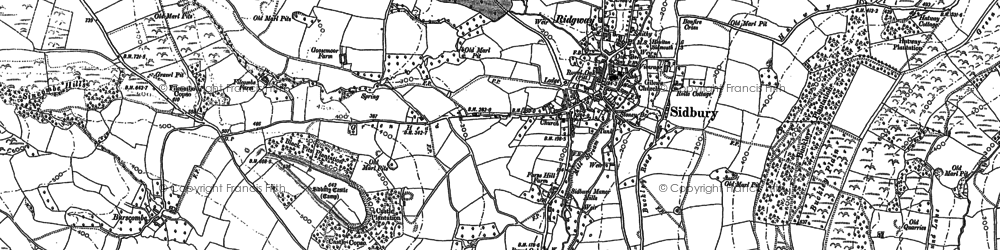 Old map of Sidbury in 1888