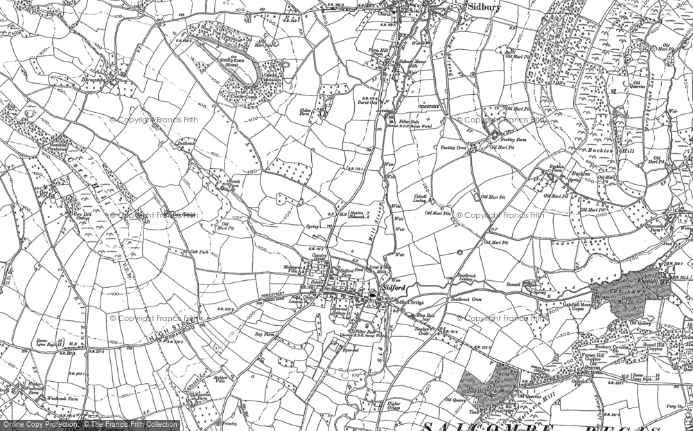Old Map of Sidford, 1888 in 1888