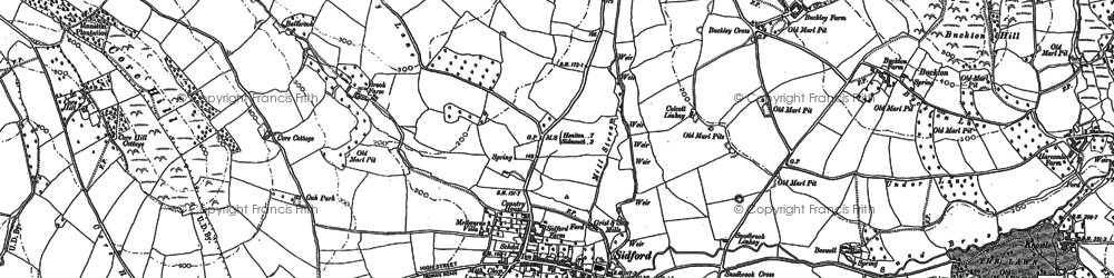 Old map of Sidford in 1888