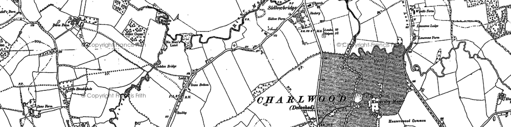 Old map of Sidlow in 1895