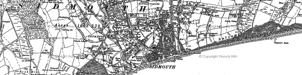 Old map of Sidmouth in 1888