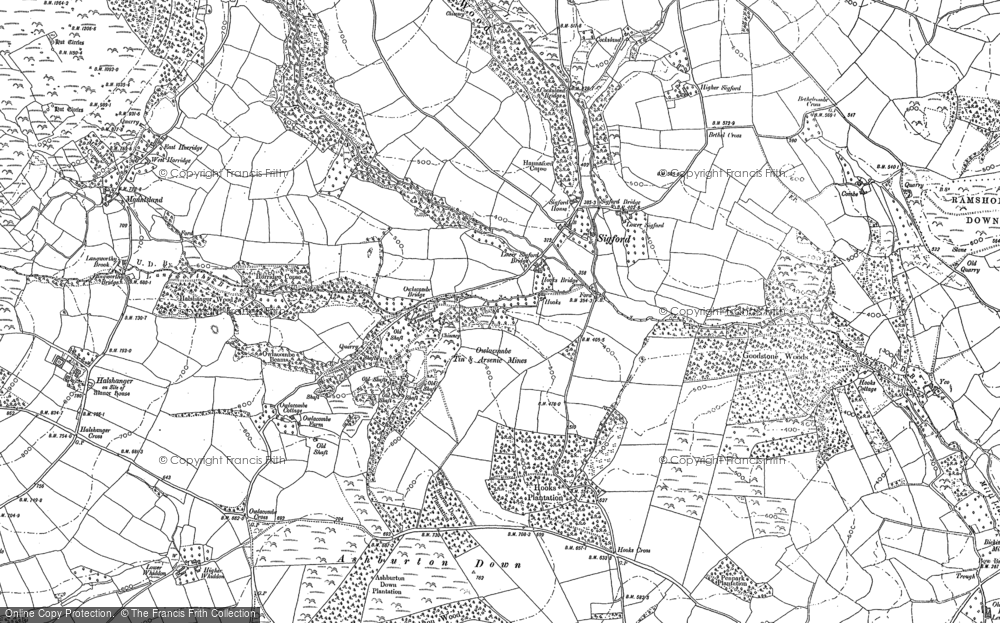 Old Map of Historic Map covering Bag Tor in 1885