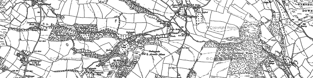 Old map of Bag Tor in 1885