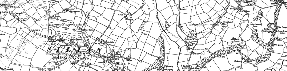 Old map of Afon Denys in 1887