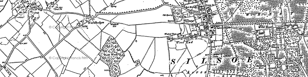 Old map of Silsoe in 1881