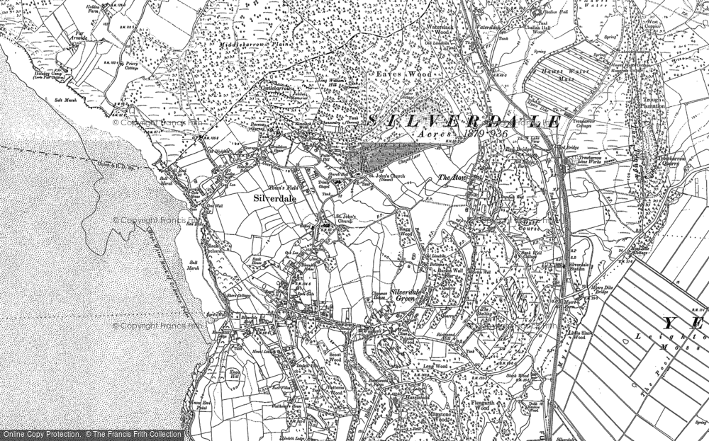Old Map of Historic Map covering Lindeth Twr in 1911