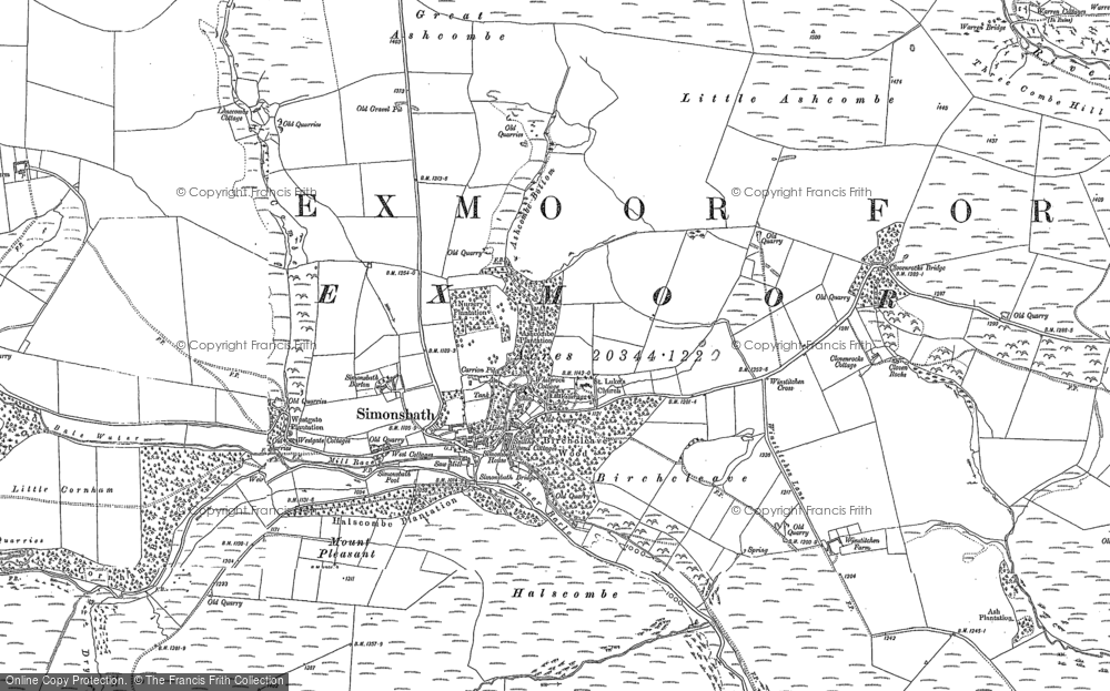 Old Map of Historic Map covering Lime Combe in 1887