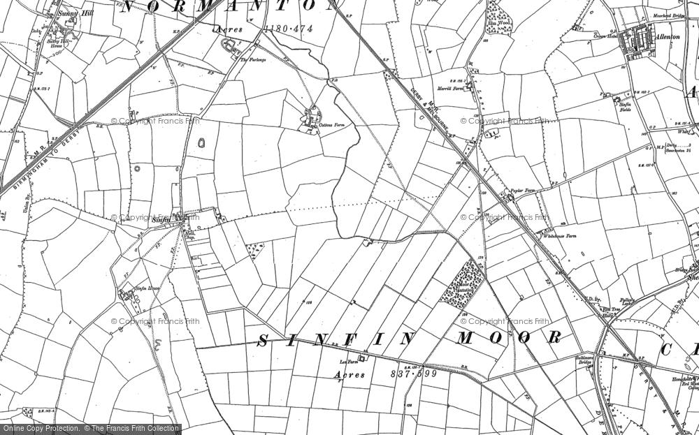 Old Map of Sinfin Moor, 1881 - 1899 in 1881