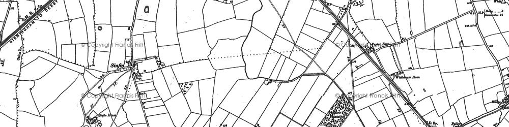 Old map of Sinfin Moor in 1881