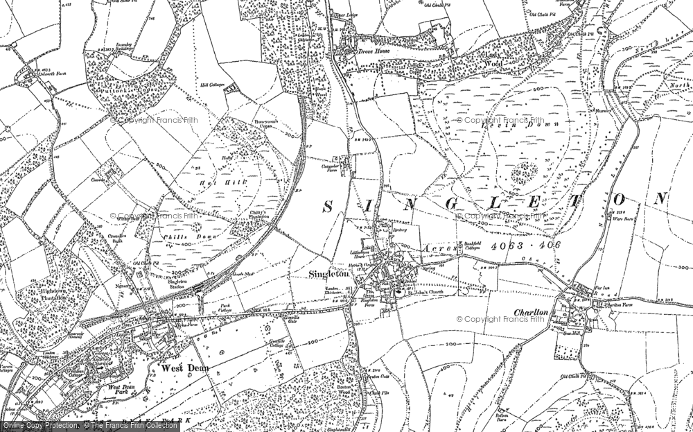 Old Map of Historic Map covering Levin Down in 1896