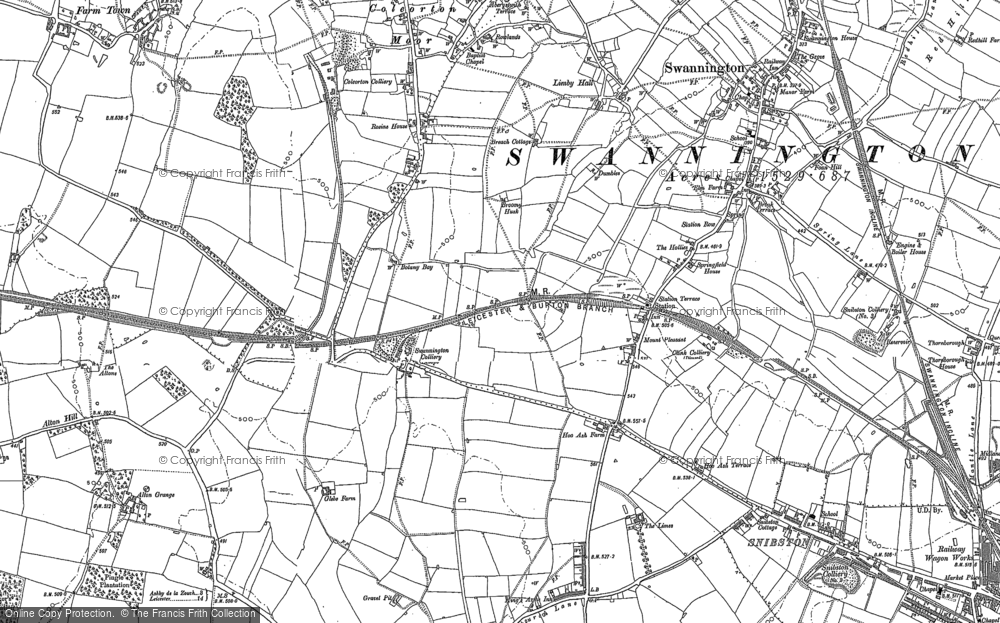 Old Map of Historic Map covering Alton Grange in 1882