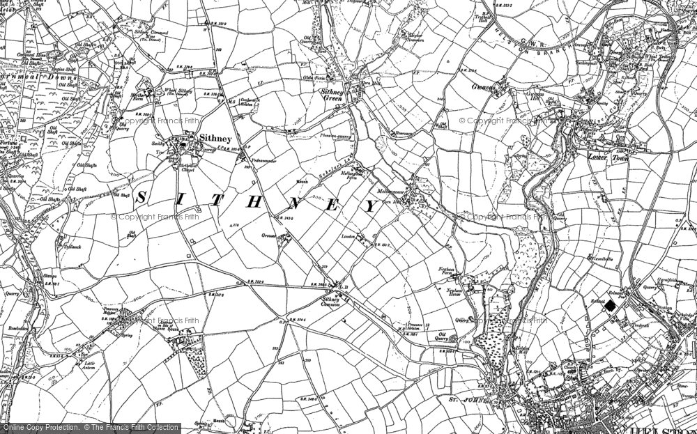 Old Map of Historic Map covering Lanner Vean in 1906