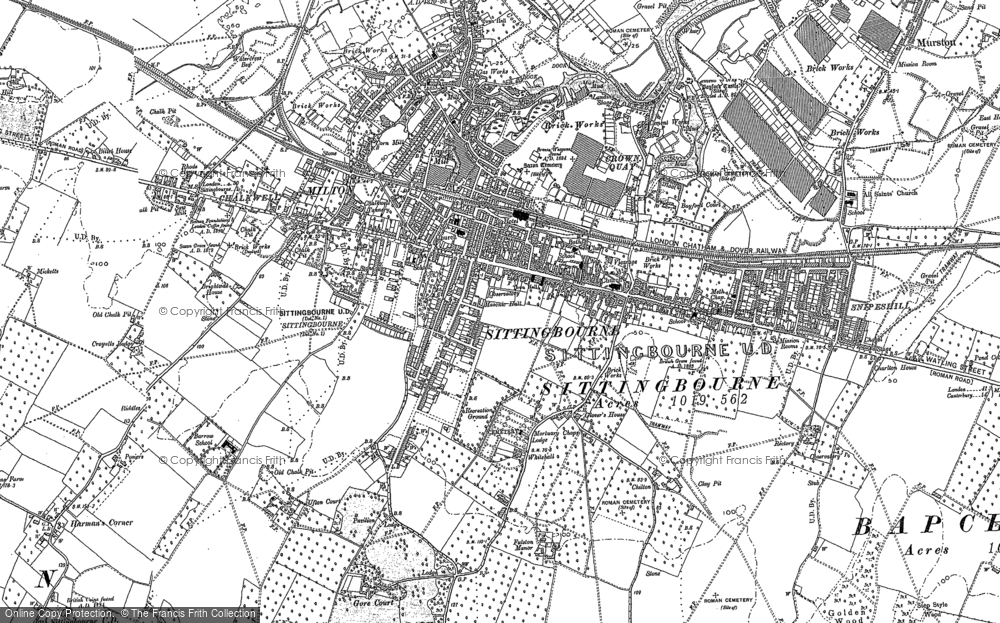 Map of Sittingbourne, 1896