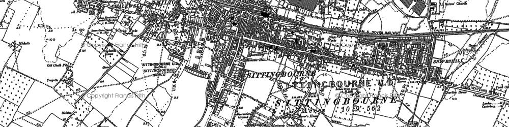 Old map of Sittingbourne in 1896