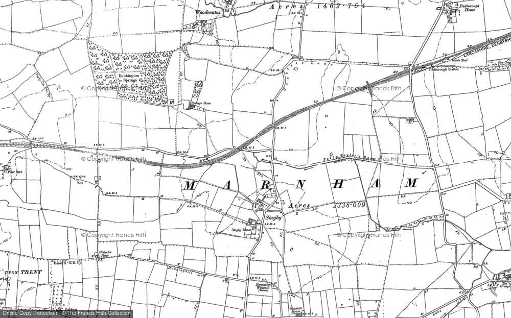 Old Map of Historic Map covering Woodcoates in 1884
