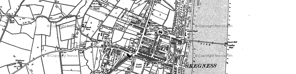 Old map of Skegness in 1887