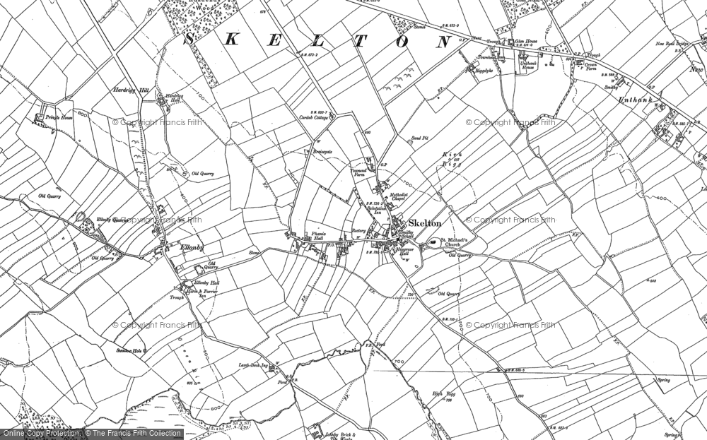 Old Map of Historic Map covering Askrigg Hall in 1898