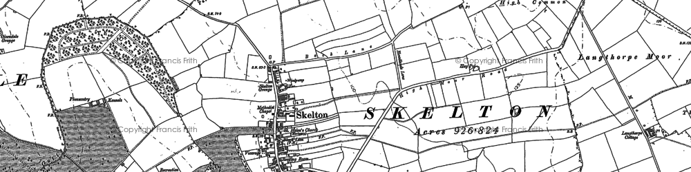 Old map of Skelton on Ure in 1889