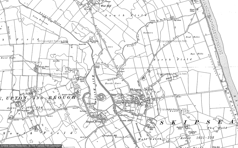 Old Map of Skipsea, 1890 - 1909 in 1890