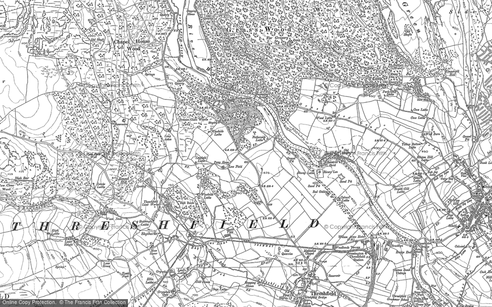 Old Map of Historic Map covering Wood Nook in 1907