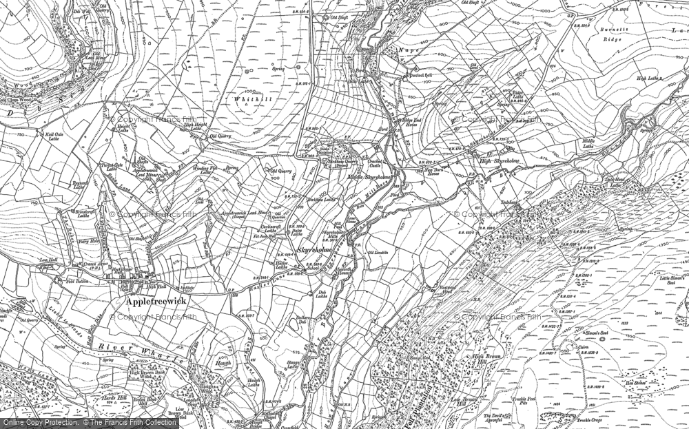Old Map of Historic Map covering Barden Fell in 1907
