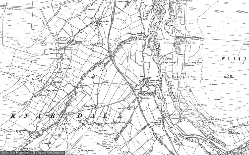 Old Map of Historic Map covering Aules Hill in 1895