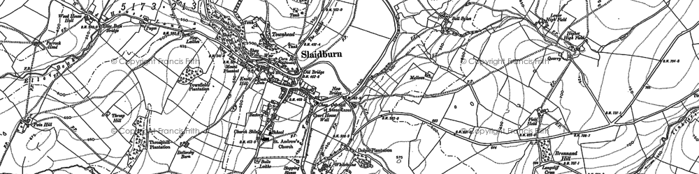Old map of Slaidburn in 1907