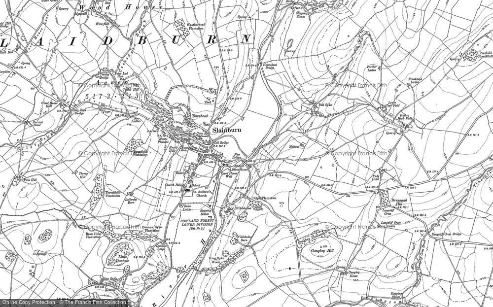 Old Map of Historic Map covering Wood Ho Gate in 1907