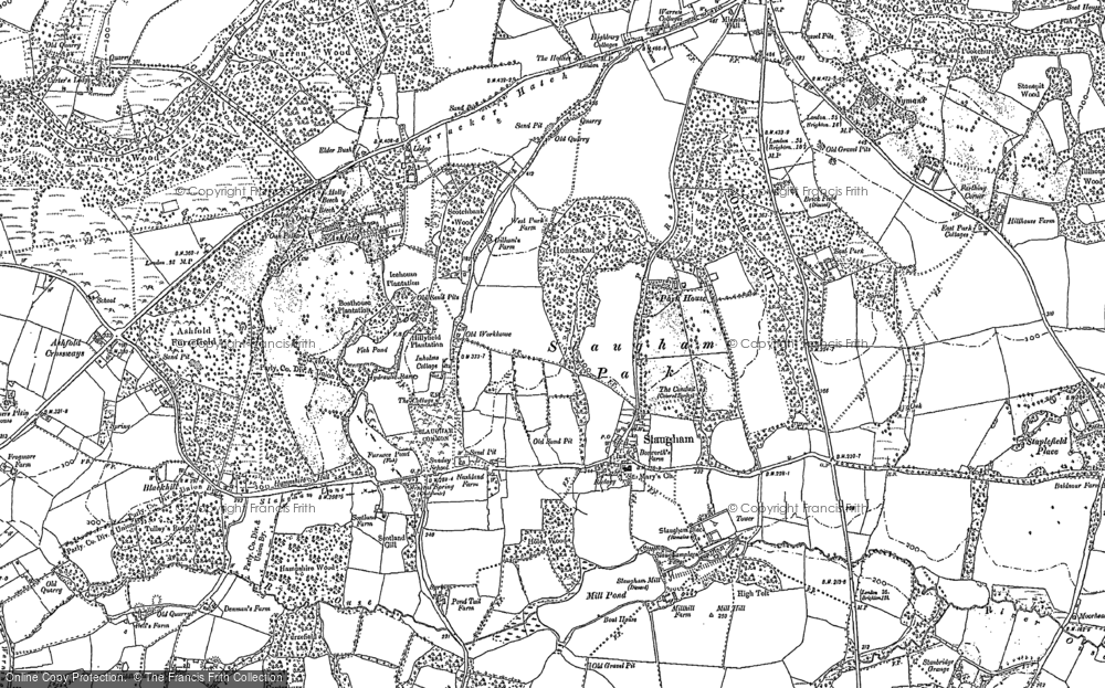 Old Map of Historic Map covering Ashfold in 1895